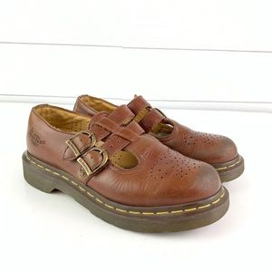 Dr. Martens Brown Mary Jane Leather Shoes Size 5